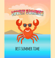 smilimg red crab lovely summer postcard vector image vector image