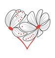 two stylized flowers arranged in a heart shape vector image vector image