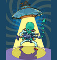 ufo flying saucer with an evil green man alien vector image vector image