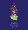 vegetables flat salad bowl vector image vector image