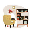 yellow cozy armchair and book cabinet vector image