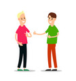 young man standing and greet each other group of vector image vector image