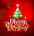 Christmas tree greeting card lettering on red vector image