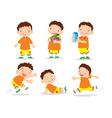 Cute boy cartoon many action vector image