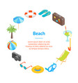 beach summer rest banner card circle isometric vector image vector image
