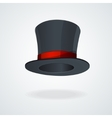Black top hat and red ribbon isolated vector image