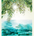 blue seaside summer tropic card watercolor vector image