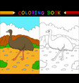 cartoon emu coloring book australian animals seri vector image vector image