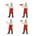 chef keeps a dish of food vector image vector image