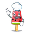 chef watermelon ice cream shaped wood character vector image vector image