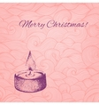 Christmas card with dotted hand drawn candle on vector image vector image