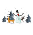 christmas with funny cartoon forest animals vector image vector image