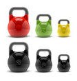 collection realistic classic kettlebells vector image