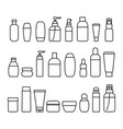 cosmetic bottles signs black thin line icon set vector image vector image
