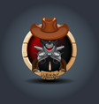 Cowboy skull wooden rounded badge icon for uigame