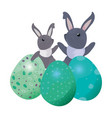 cute rabbits and eggs easter vector image vector image