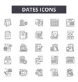 dates line icons signs set outline vector image vector image
