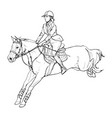 female rider - jumping horse outline black and vector image vector image