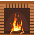 fireplaces wooden and stone decoration design vector image vector image