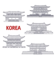 Five grand palaces of South Korea thin line symbol vector image