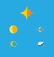 flat icon night set of bedtime lunar asterisk vector image