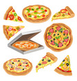 flat set of round pizza triangle slice and vector image vector image