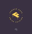 fondue cafe logo f monogram cheese letter swiss vector image