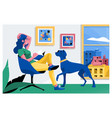 girl reading a book and dog sitting vector image