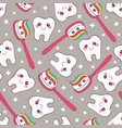 gray seamless pattern with tooth and toothpaste vector image