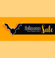 halloween sale yellow banner with bat silhouette vector image