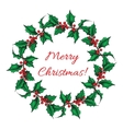 Hand drawn Holly wreath vector image vector image