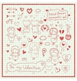 Hand drawn romantic set vector image vector image