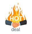 handshake gesture with fire vector image vector image