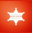 hexagonal sheriff star icon on orange background vector image
