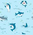kawaii shark seamless pattern cute funny sharks vector image vector image