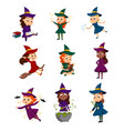 little witches set cute girls wearing dress and vector image vector image