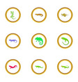 lizard icons set cartoon style vector image vector image