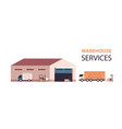 logistic transport near warehouse loading vector image