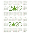 marijuana calendar for 2019 and 2020 year vector image vector image