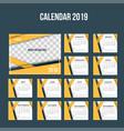 modern orange corporate desk calendar 2019 vector image