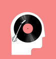 music listening concept with side view human head vector image vector image
