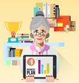 Old Business woman with tablet vector image