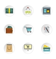 Online shopping icons set flat style vector image vector image