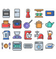 outlined pixel icons set some kitchen utensils vector image
