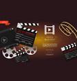 realistic cinema light background vector image vector image