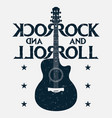 rock and roll music grunge print with guitar vector image vector image