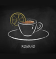 romano coffee cup isolated on black chalkboard vector image