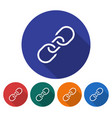 round icon of chain flat style with long shadow vector image vector image