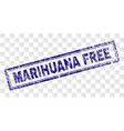 scratched marihuana free rectangle stamp vector image