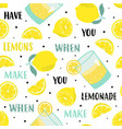seamless cartoon lemon pattern on white background vector image